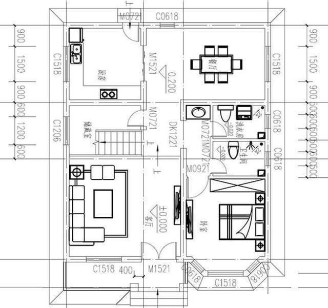 本套农村房屋设计图开间进深8.6 10米,首层占地面积86㎡,房屋高度10.