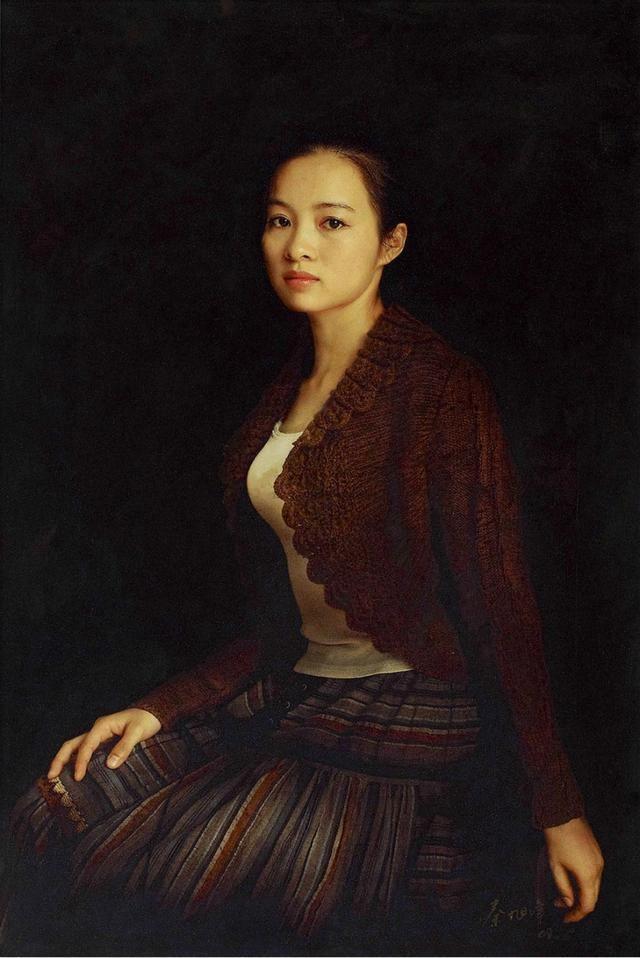 古典写实画家秦旭峰油画中的美女香肌玉肤,高贵典雅
