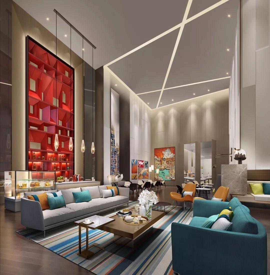 """灯光效果以现代主义风格的""""几何图案""""呈现,给入住宾客以深刻印象."""