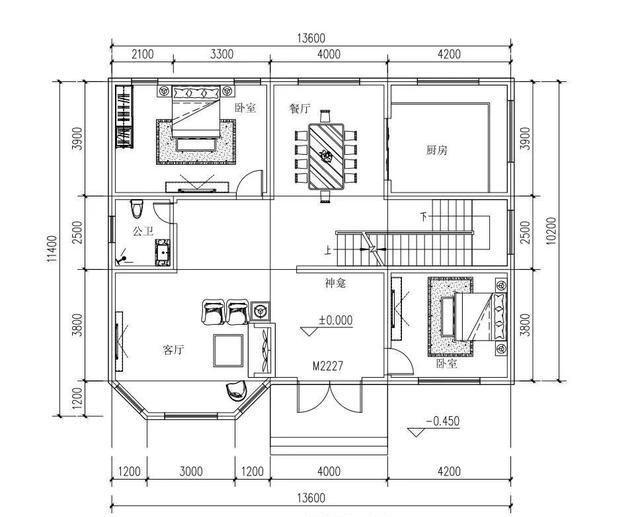 25万占地150平方米3厅5卧二层带落地窗别墅设计图图片