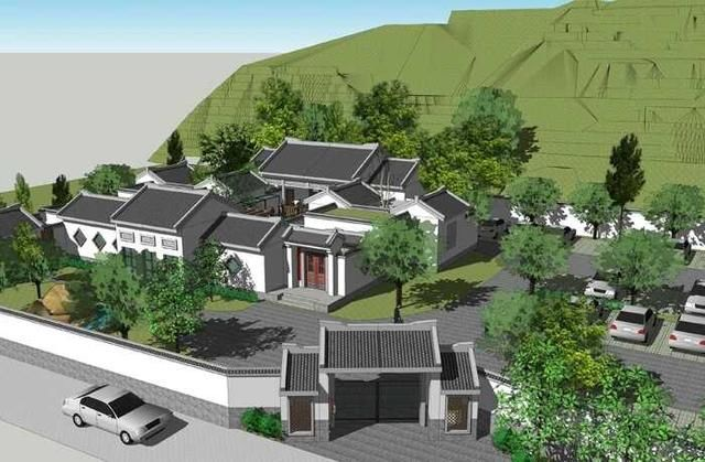 新中式四合院别墅设计,带篮球场和花园