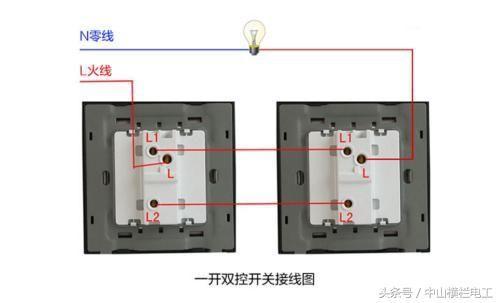 第二个双控开关的l端口接到灯上,剩下还有四个接线端口就是l1.