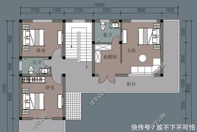 二层的大主卧是套房设计,带独立衣帽间跟卫生间.图片