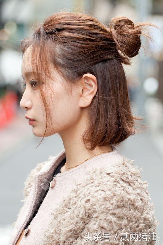 前面头发翘起来的发型图片