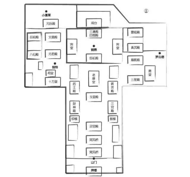 道观的建筑形式和布局与佛教寺院大体相仿,只是殿堂的名称与所供奉的图片