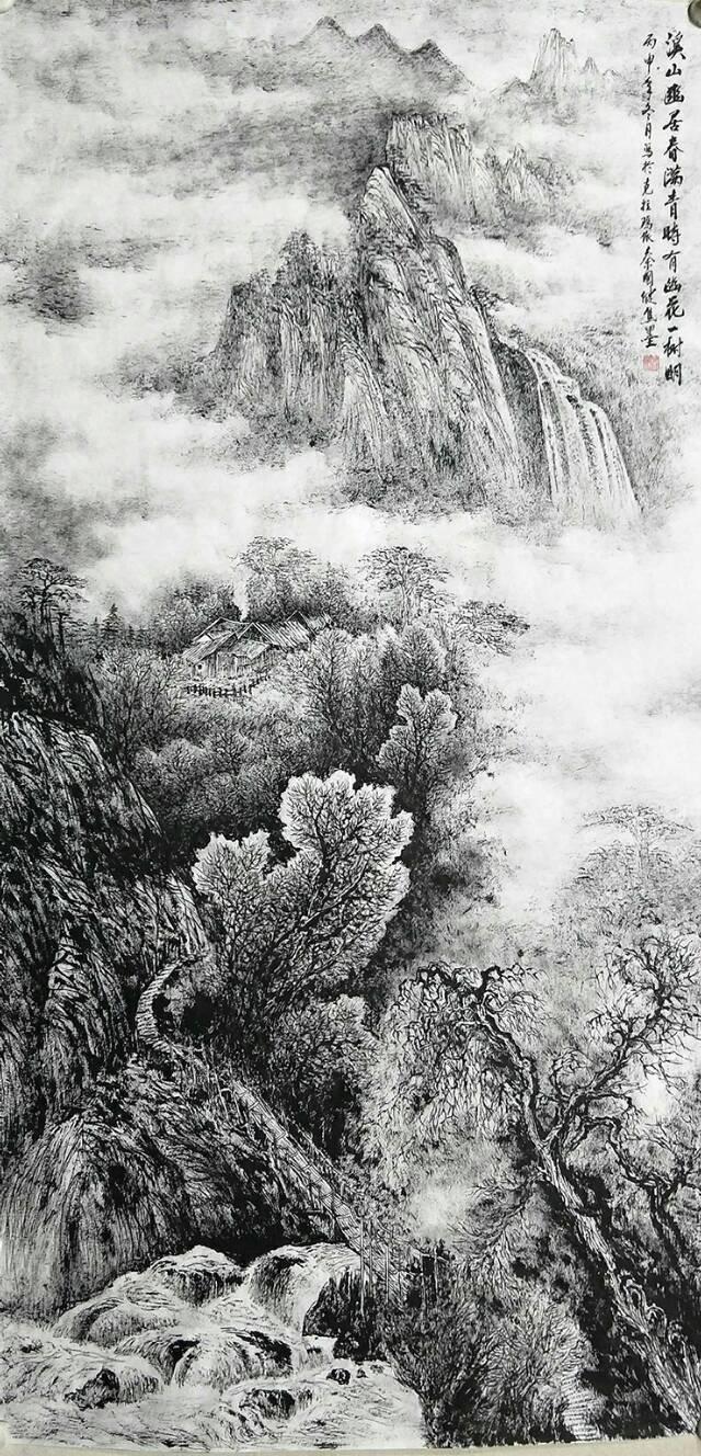 苍润焦墨山水画,苍松古韵,大美仙境,古建筑与城市风景画等,还有竖幅