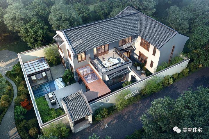 精美绝伦的新中式农村别墅,带雅致庭院设计,村