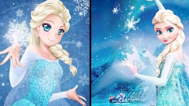 当迪士尼公主变成日系美少女,艾莎超可爱,白雪公主有点毁!
