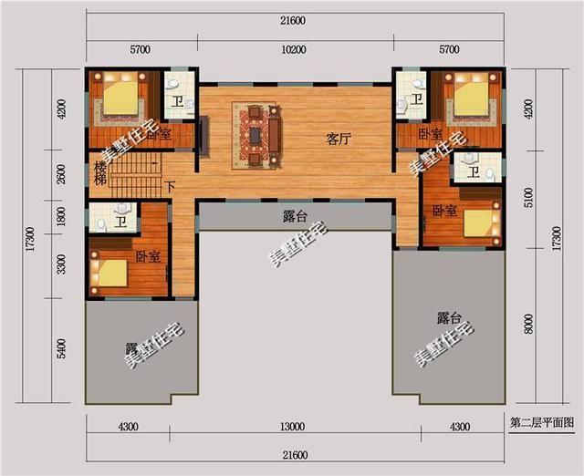 框架结构 造价预算:60-72万左右 第三套:带大院子的中式四合院别墅.