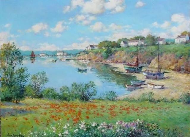 这些写意风景油画,景美色柔