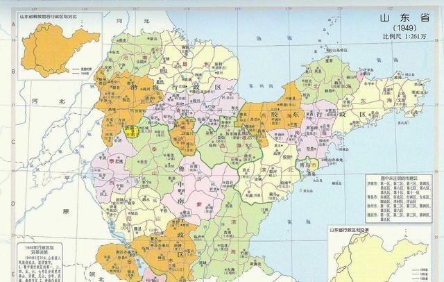 建国初的山东区划,济南青岛面积小的找不到,最大的竟是这个城市