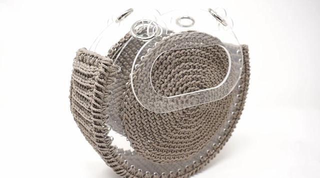 短针:现在很流行的一款包包,圆形框架手拎包编织教程,适合春夏季节