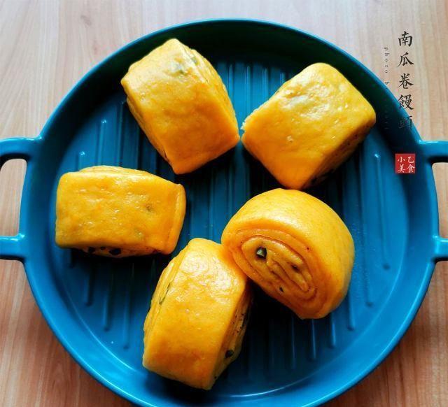 「南瓜」南瓜卷馒头,营养健康美味