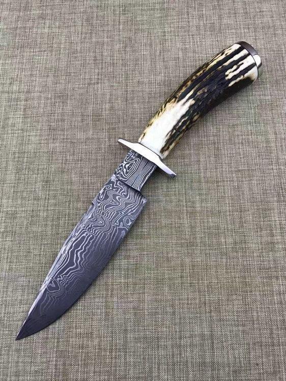 美国刀匠协会比尔.弥勒全手工打造麋鹿小猎刀
