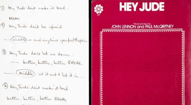 麦卡特尼■披头士《Hey Jude》歌词手稿线上拍出91万美元