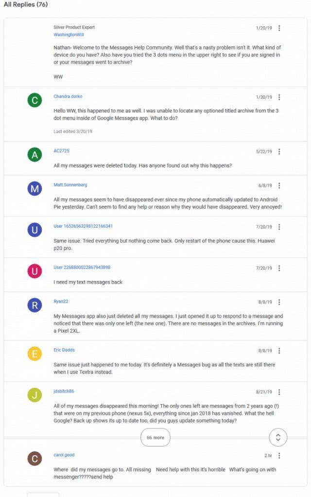 「用户」[图]部分Google Messages用户反馈:错误显示发送方 删除所有短信