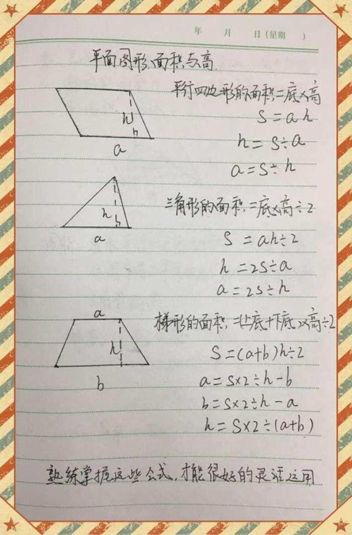 三分钟带你理清五年级数学平面图形面积与高复