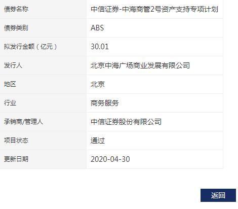 #深交所#中海广场30.01亿元资产支持ABS已获深交所通过