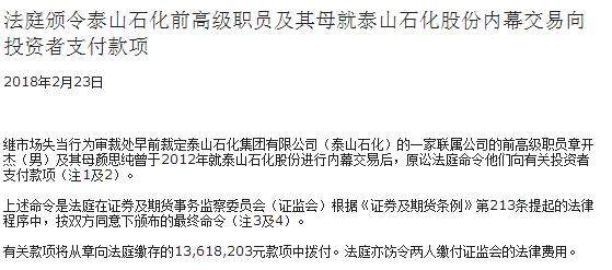 泰山石化联属前高管及其母内幕交易 被责令支付有关款项