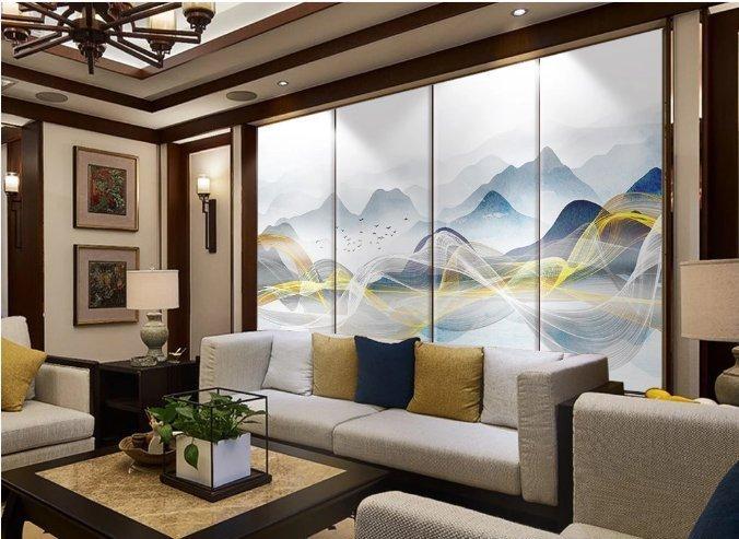 华世背景墙:12款新中式意境抽象客厅电视背景墙,空间度数