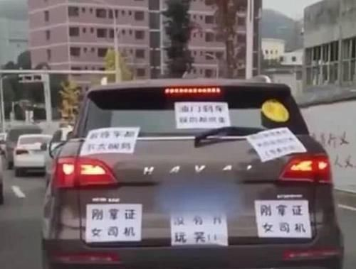 """""""牛""""女司机车后贴着一张纸?来往司机瑟瑟发抖"""