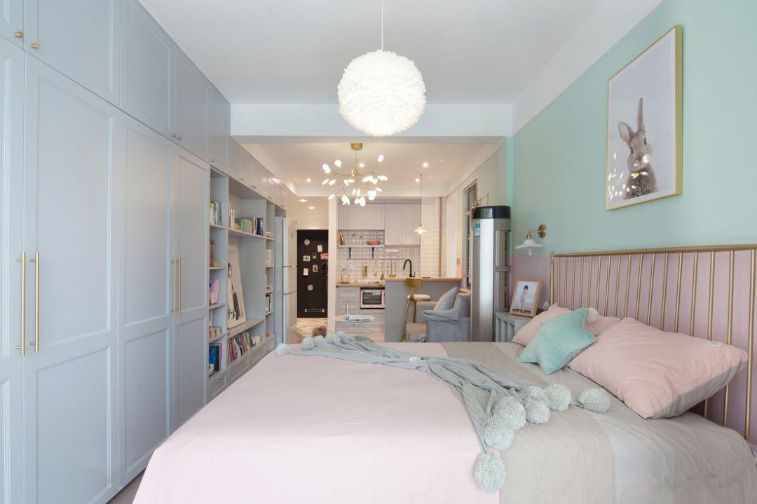 45㎡狭长单身公寓,清新甜美、太有情调了!一个人住太爽了!