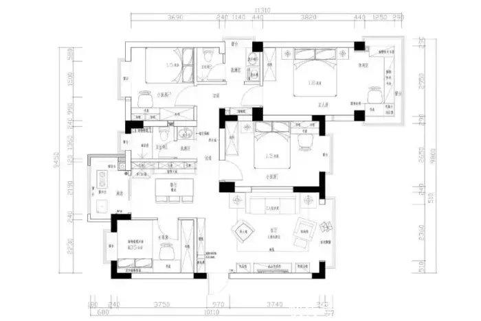 101㎡挤出4室2厅,阳台改厨房太实用!