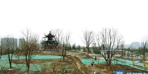 文昌大桥东岸公园有新进展 京杭之心旁可登山赏运河风光
