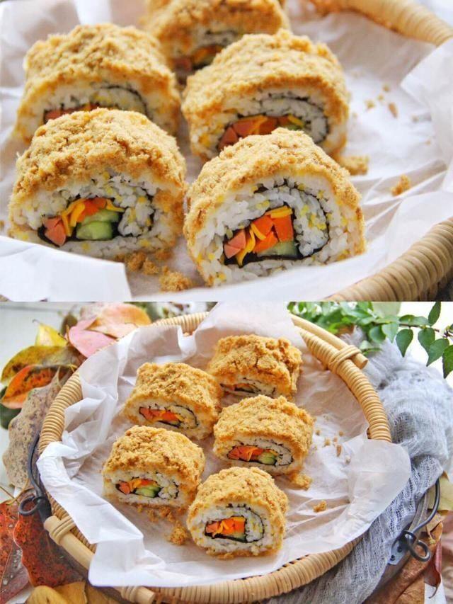 「保鲜膜」教你在家做肉松寿司卷,3分钟就做好,味道超赞