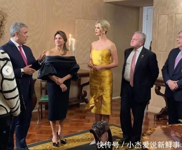 38岁伊万卡出席晚宴,身穿金黄色绸缎礼服,实在是太美了!
