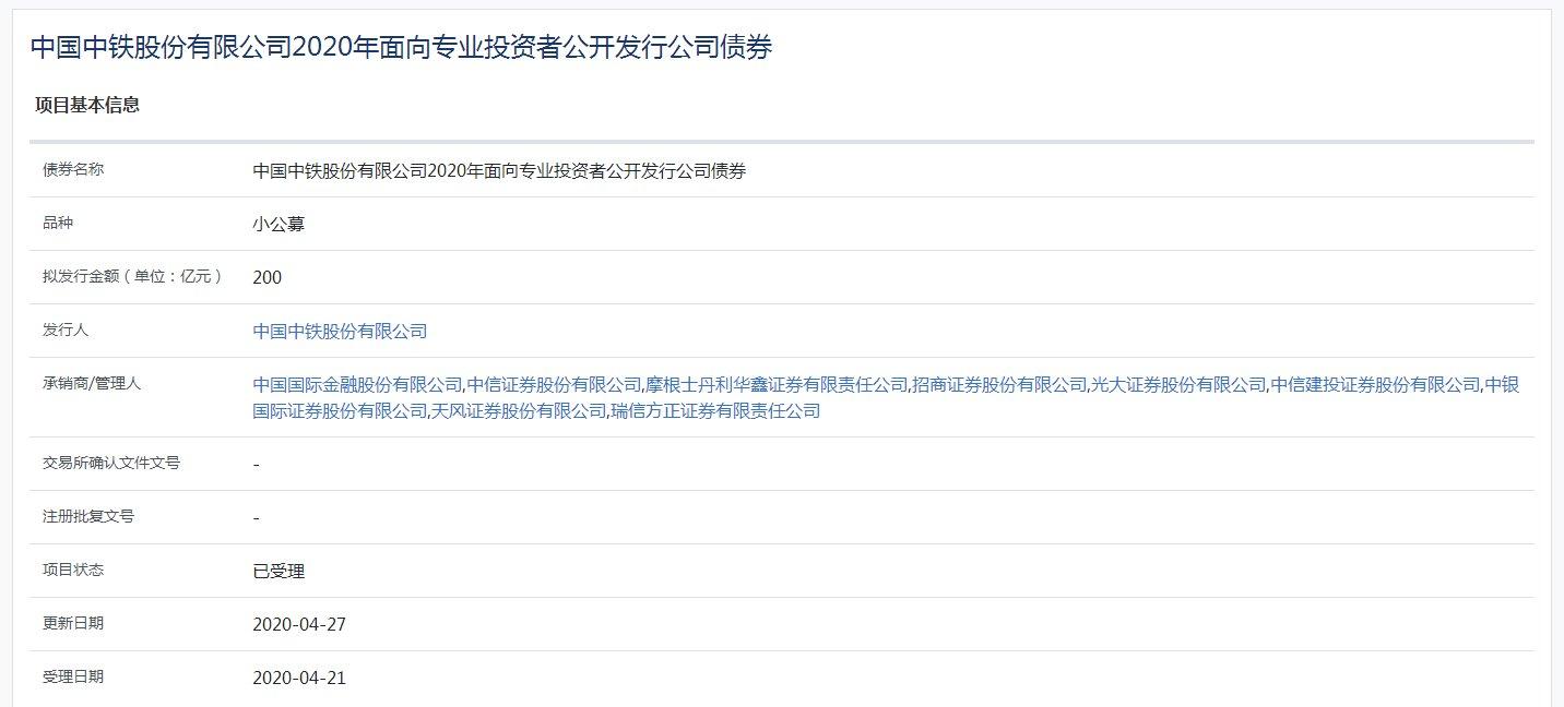 『中国』中国中铁:200亿元小公募已获上交所受理
