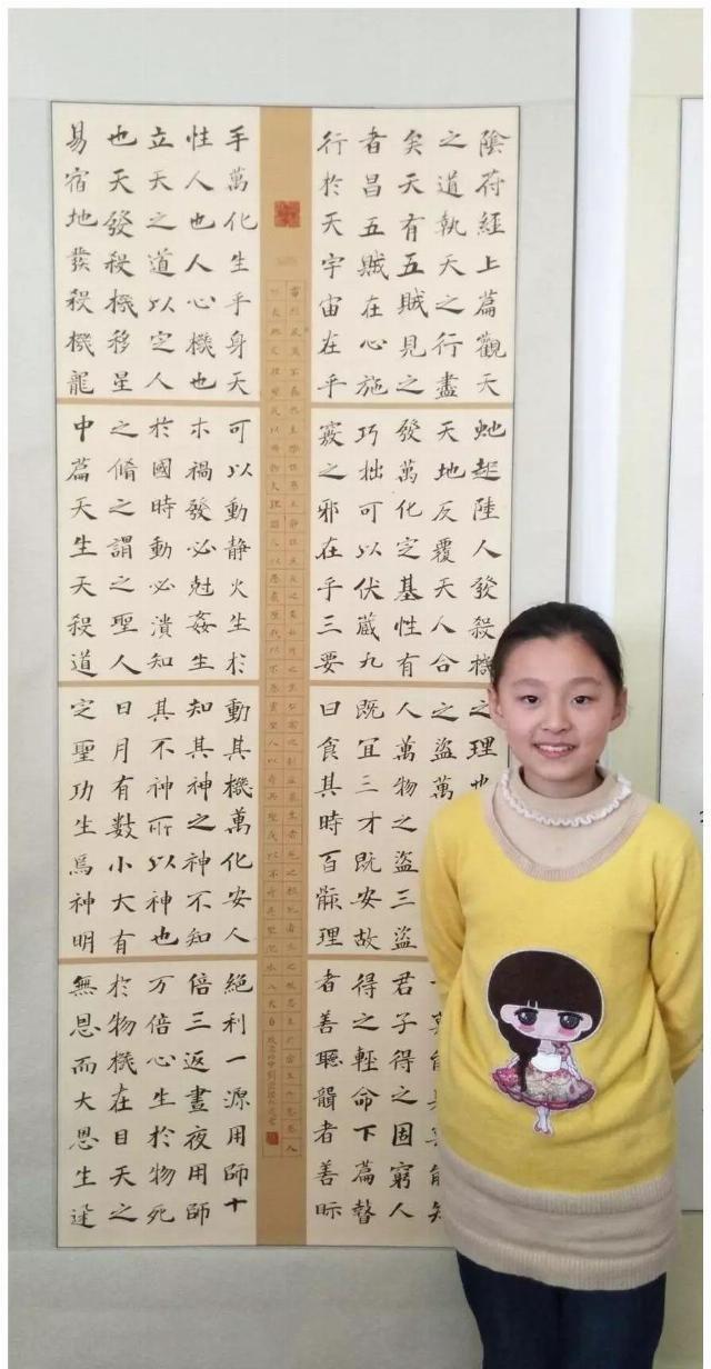13岁女孩,坚持练习书法7年,学习书法前后对比,差距很大