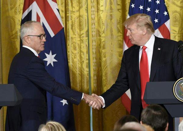 """澳总理访美见特朗普:巩固""""哥们交情""""谈经贸也谈安全"""